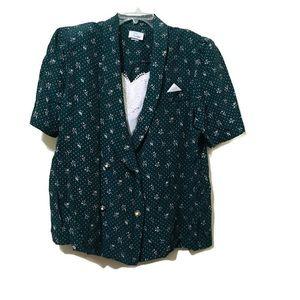 Vintage Green Polka Dot & Floral Blouse Size 20